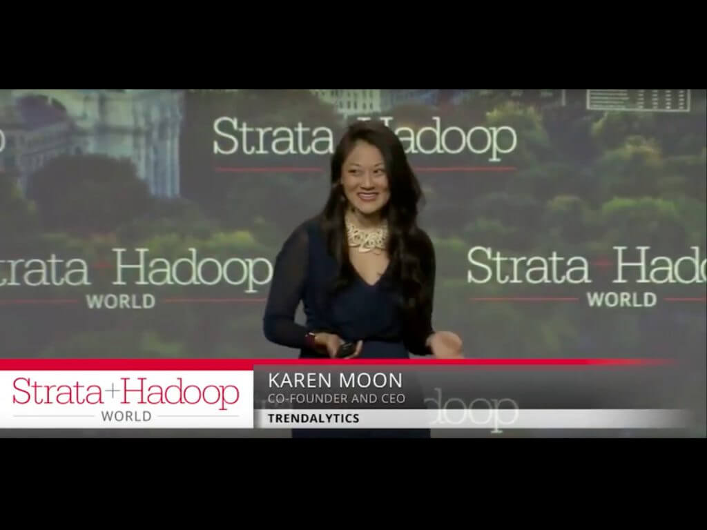 karen moon giving a speech at strata and hadoop conference